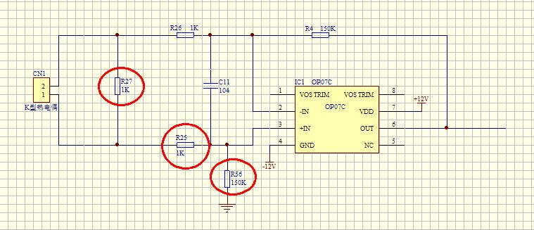 op07热电偶放大器电路