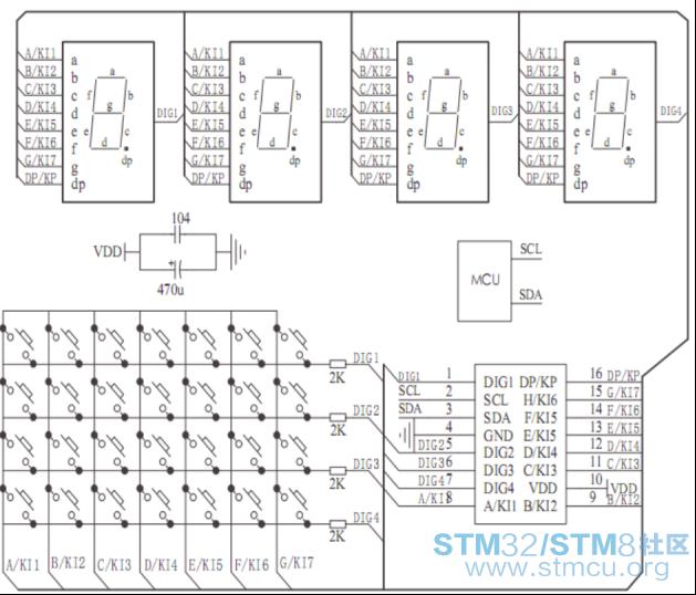 [stm8入门资料]第53讲 tm1650 led数码管驱动芯片工作原理