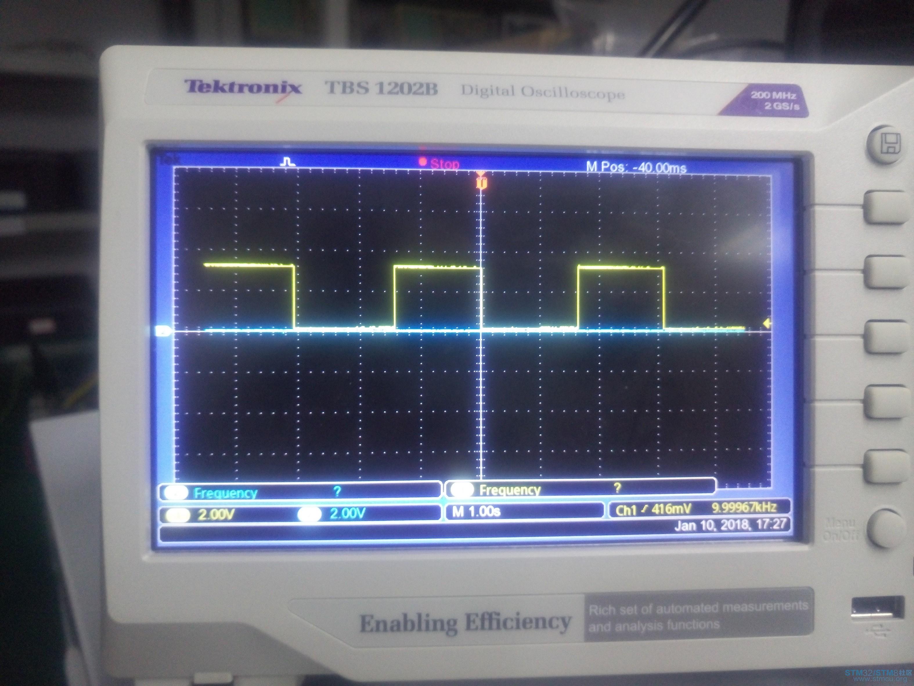 示波器_stm32使用tim1进行互补pwm输出时,示波器观察出两个波形